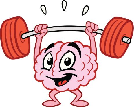 Cartoon Brain Lifting Weights